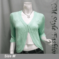 Chic Eyelet Sweet Cardigan Sweater Top Green