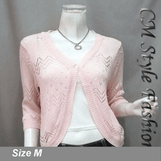 Chic Eyelet Sweet Cardigan Sweater Top Pink