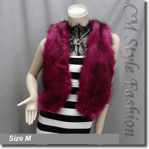 Chic Faux Fur Fluffy Vest Waistcoat Red Violet