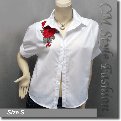 Chic Floral Applique Blouse Shirt Top White