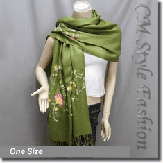 Chic Floral Embroidery Scarf Drape Shawl Green