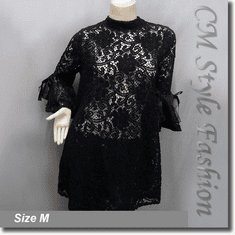Chic Floral Lace Crochet See Through A Line Frock Tunic Top Black