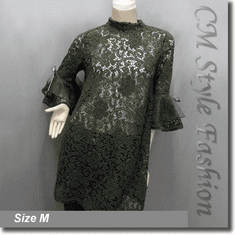 Chic Floral Lace Crochet See Through A Line Frock Tunic Top Green