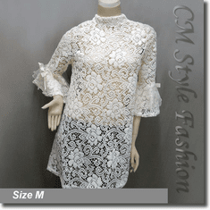 Chic Floral Lace Crochet See Through A Line Frock Tunic Top Off White