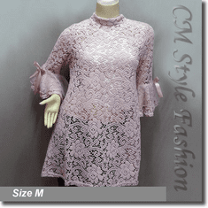Chic Floral Lace Crochet See Through A Line Frock Tunic Top Pink