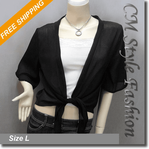 Chic Front Tie Shrug Cropped Bolero Topper Cardigan Black