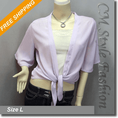 Chic Front Tie Shrug Cropped Bolero Topper Cardigan Light Purple / Lavender