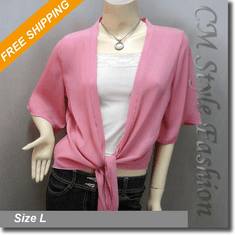 Chic Front Tie Shrug Cropped Bolero Topper Cardigan Pink