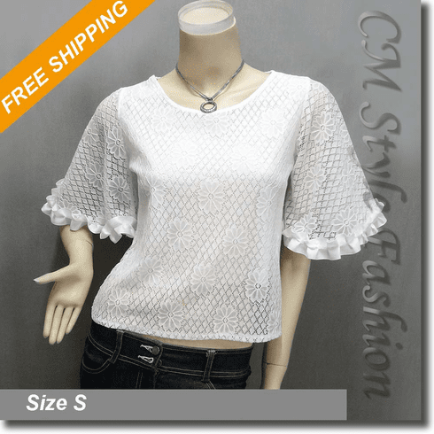 Chic Lace Sheer Bell Sleeve Boho Blouse Top Off White