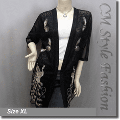 Chic Peacock Sheer Sequined Embroidered Beaded Long Cardigan Top Black