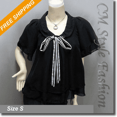 Chic Semi Sheer Tent Babydoll Swingy Chiffon Blouse Top Black