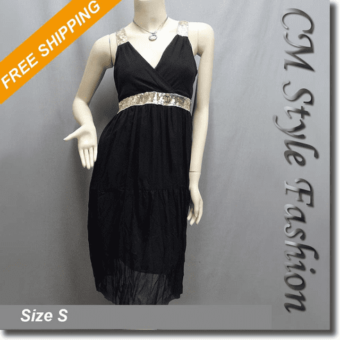 Chic Sequin Chiffon Cross Bust Dress Black