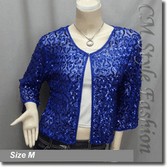 Chic Sequin Embroidered Evening Bolero Shrug Top Blue