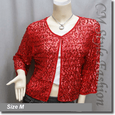 Chic Sequin Embroidered Evening Bolero Shrug Top Red