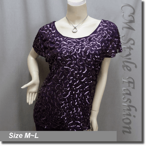 Chic Sequined Embroidery Fashion Blouse Top Purple