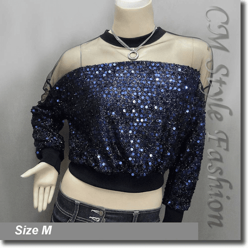 Chic Sequined Sheer Shoulder Sleeve Blouse Top Black Blue