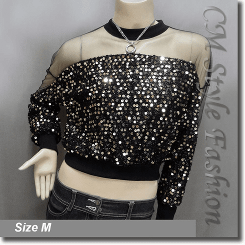 Chic Sequined Sheer Shoulder Sleeve Blouse Top Black Golden