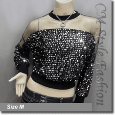 Chic Sequined Sheer Shoulder Sleeve Blouse Top Black Silvery