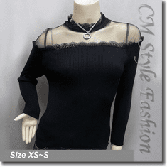 Chic Sexy Sheer Upper Lace Trim Blouse Top Black