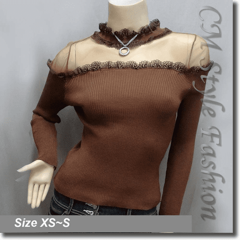Chic Sexy Sheer Upper Lace Trim Blouse Top Brown