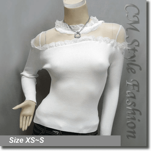 Chic Sexy Sheer Upper Lace Trim Blouse Top Off White
