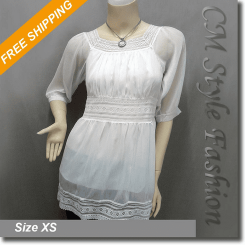 Chic Sheer Lace Trimmed Chiffon Tunic Top White