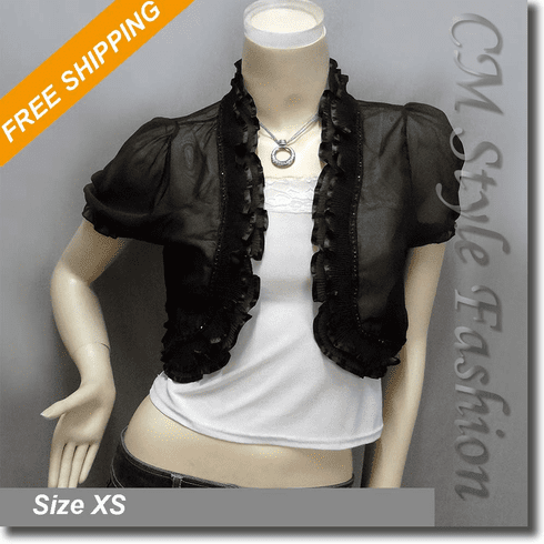 Chic Sheer Ruffled Short Shrug Bolero Top Black