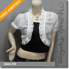 Chic Sheer Ruffled Short Shrug Bolero Top White