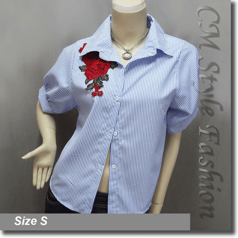 Chic Stripey Floral Applique Blouse Shirt Top Blue White