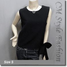 Chic Stylish Bow Tie Blouse Tank Top Black