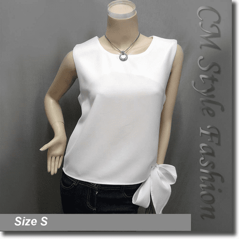 Chic Stylish Bow Tie Blouse Tank Top Off White
