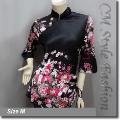 Chinese Cheongsam Qipao Floral Satin Tunic Top Black
