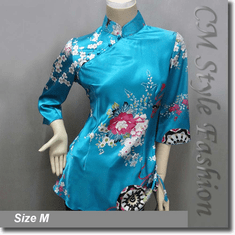 Chinese Cheongsam Qipao Floral Satin Tunic Top Blue