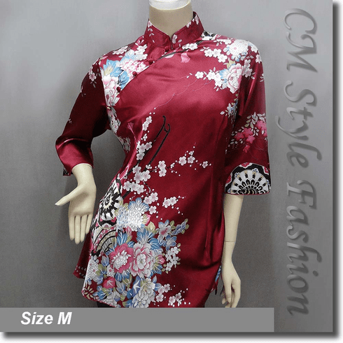 Chinese Cheongsam Qipao Floral Satin Tunic Top Burgundy