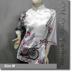 Chinese Cheongsam Qipao Floral Satin Tunic Top White