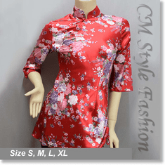 Chinese Cheongsam Qipao Floral Silky Satin Tunic Top Red