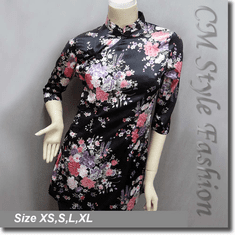 Chinese Cheongsam Qipao Style Floral Satin Tunic Top Black
