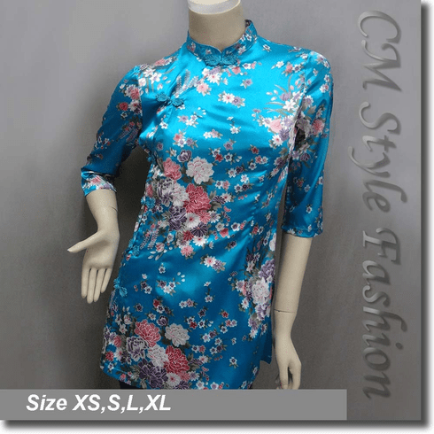 Chinese Cheongsam Qipao Style Floral Satin Tunic Top Blue