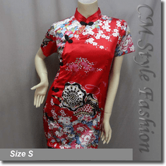 Chinese Cheongsam Qipao Style Floral Satin Tunic Top Red
