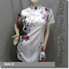 Chinese Cheongsam Qipao Style Floral Satin Tunic Top White