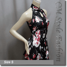Chinese Floral Qi Pao Cheongsam Inspired Satin Tunic Top Black