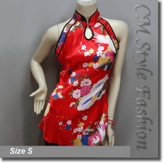 Chinese Qi Pao Cheongsam Inspired Floral Satin Tunic Top Red