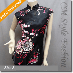 Chinese Qi Pao Cheongsam Inspired Satin Tunic Top Black