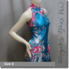 Chinese Qi Pao Cheongsam Inspired Satin Tunic Top Blue