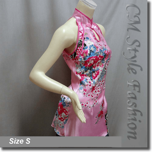 Chinese Qi Pao Cheongsam Inspired Satin Tunic Top Pink