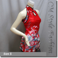 Chinese Qi Pao Cheongsam Inspired Satin Tunic Top Red
