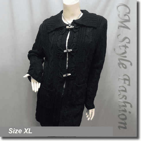 Classy Cable Knit Toggle Pocket Sweater Cardigan Black XL