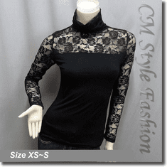 Classy Lace Floral Sheer Sleeves Turtleneck Hobo Blouse Top Black