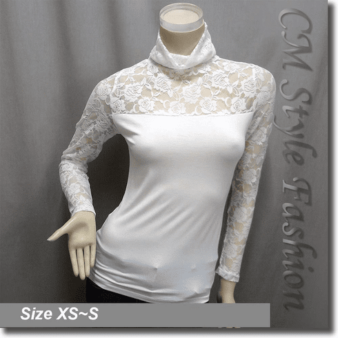 Classy Lace Floral Sheer Sleeves Turtleneck Hobo Blouse Top Off White