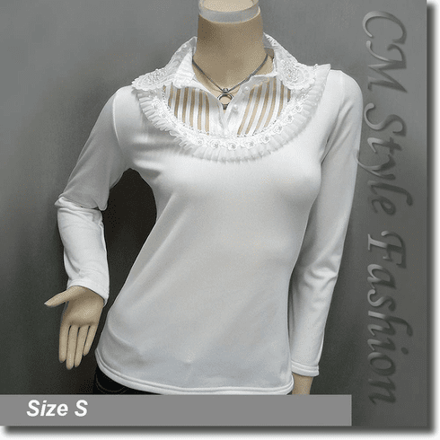 Classy Lace Trimmed Ruffled Applique Beaded Blouse Top Off White